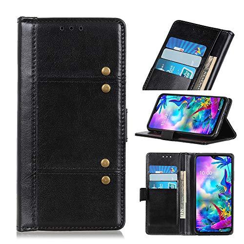 Janmitta für LG G8X ThinQ Hülle, LG G8X ThinQ Wallet Hülle, PU Leder Tasche mit Ständerfunktion & ID-Kreditkartenschlitz, Magnetverschluss Schutzhülle für LG G8X ThinQ (schwarz)