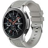 Dirrelo Correa Compatible con Samsung Galaxy Watch 3 45mm/Galaxy Watch 46mm/Huawei GT 2 46mm, 22mm Deportiva Muñequeras Suave Silicona Reemplazo para Samsung Gear S3 Frontier, Hombres Mujeres, Gris