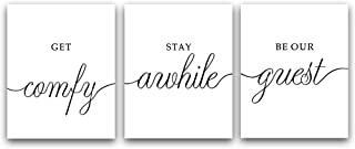 """HPNIUB Minimalist Lettering Welcome Quotes Art Print Set of 4 (8""""X10"""" Black and White Modern Wall Canvas Poster Family Warm Typography Decor for Guest Room Or Living Room, No Frame"""