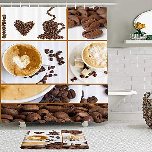 SHENGLIPINK Stoff Duschvorhang & Matten Set,Kaffee Cappuccino Kakaobohnen Kaffeeliebhaber,wasserdichte Badvorhänge mit 12 Haken,utschfeste Teppiche