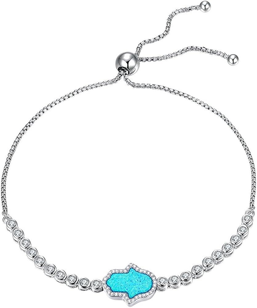 Kaletine Blue Hamsa Same Cheap SALE Start day shipping Hand of Fatima Sterling Cubi Silver Bracelet
