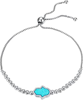 Kaletine Blue Hamsa Hand of Fatima Bracelet Sterling Silver Cubic Zirconia Opal Adjustable Tennis Anchor Chain 10""