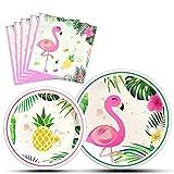 WERNNSAI Flamingo Party Zubehör - Luau Einweg Geschirr Teller und Servietten Geschirr Set für Mädchen Kinder Geburtstag Abendessen Dessert 16 Gäste