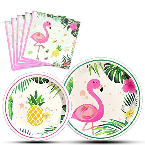 WERNNSAI Flamingo Party Supplies - 48PCS Luau Disposable Hawaiian Themed Tableware Set for Girl Kids Birthday Dinner Dessert Plates and Napkins Serves 16 Guests