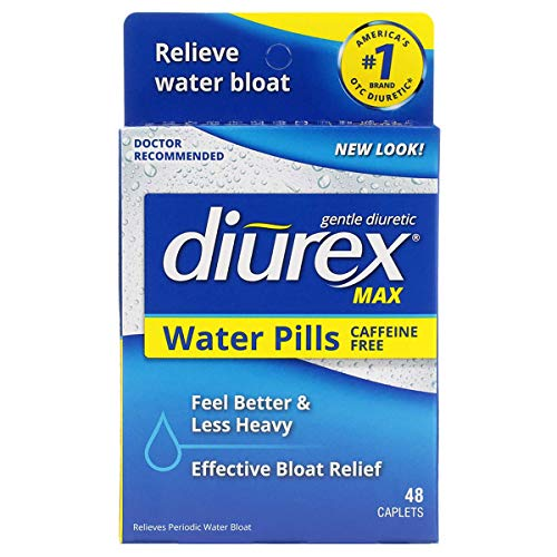 Diurex Max Water Pills - Maximum Strength Caffeine Free Diuretic - Relieve Water Bloat - 48 Count