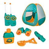 ToyVelt Kids Camping Tent Set Toys - Includes Pop Up Play Tent, Telescope, 2 Walkie Talkies, and...