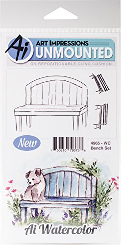 Art Impressions Watercolor Cling Rubber Stamps, Bench