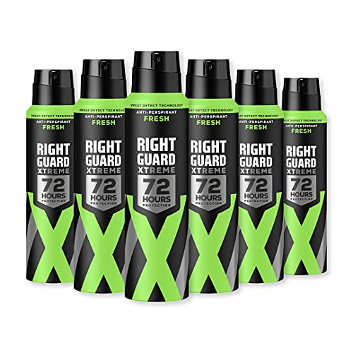 Right Guard Mens Deodorant, Xtreme Fresh 72H High-Performance Anti-Perspirant Spray, Multipack 6 x 150 ml