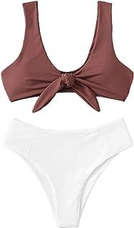96c32dd2a1d SweatyRocks Women s Sexy Bikini Swimsuit Tie Knot Front Swimwear Set