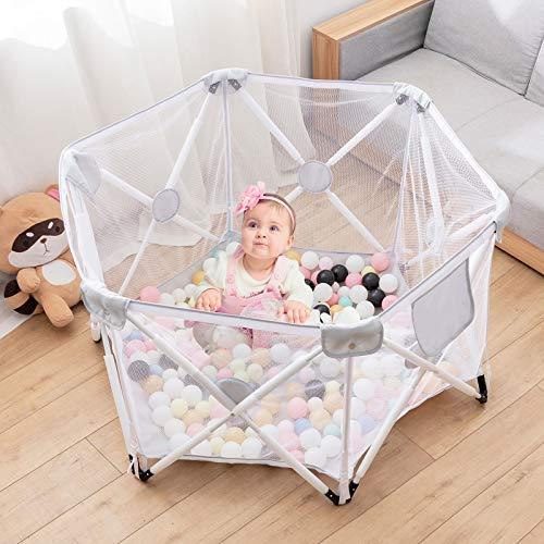 Parque infantil para bebés, parque infantil plegable y portátil, parque infantil plegable hexagonal con malla transpirable, juegos en interiores y exteriores para edades de 0 a 4 años (Gris)