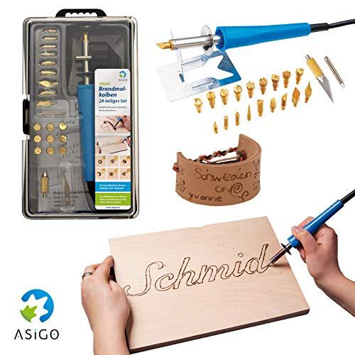 Asigo Brandmalkolben | Brandmalerei auf Holz Leder Kork | Brandmalgerät mit Ständer und 22 Einsätzen | Deutscher Hersteller