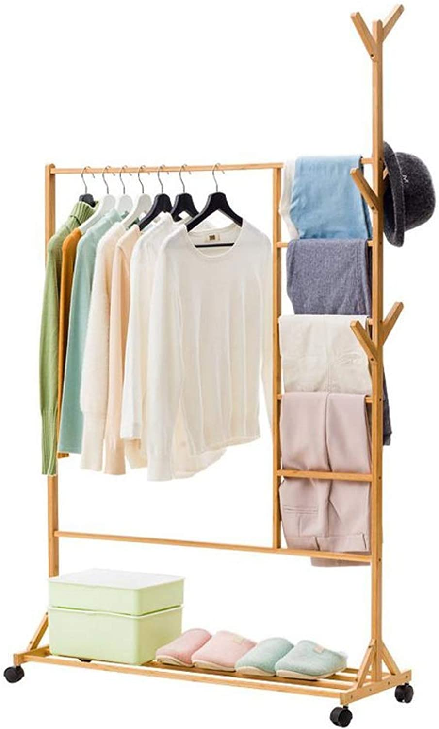 Coat Rack, Wooden Stand 6 Hooks Clothes with Wheels Tree Hat Coat Rail Stand shoes Rack Clothes Storage Hanger Organiser