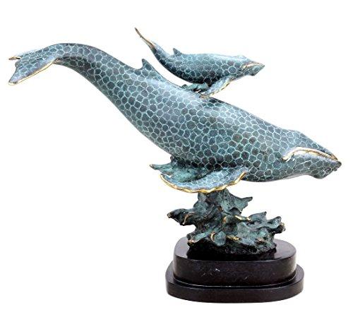 Moderne Bronzeskulptur - Blauwalmutter mit Kind - signiert Milo - limitiert - Tierfiguren online kaufen - Wal Skulptur - Bronzefigur