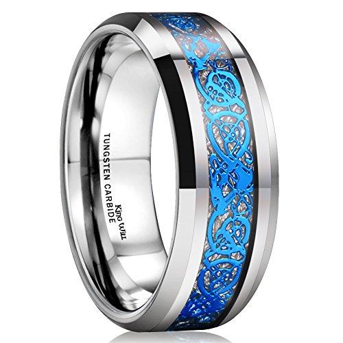 King Will Dragon Men Women 8mm Tungsten Carbide Ring Blue Celtic Imitated Meteorite Inlay Ring Beveled Edge(11.5)