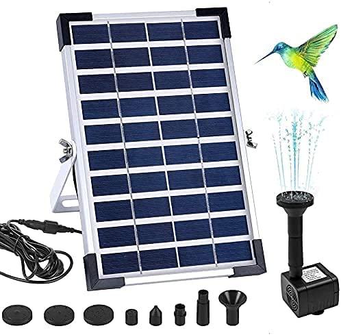 LUXJET Bomba de agua solar de 5 W para estanque Birdbath, flujo máximo 200L/H, bomba de fuente de agua accionada solar de pie libre