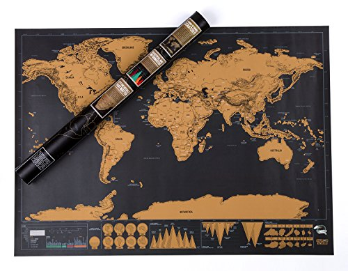 Scratch off Travel Map World Wall Map Poster with Country Flags Record and Share Your Adventures - Scratch off Travel Journal World Travel Tracker Map Deluxe Black Gold by YYVIGO (Black gold)