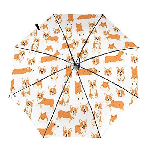 コーギーインアクション 自動開閉式折りたたみ傘 ワンタッチ 折りたたみ傘 耐強風撥水 大きいサイズ 雨傘 日傘 持ち運びが簡単 おしゃれ 個性 晴雨兼用