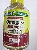 Spring Valley Omega-3 500 mg from Fish Oil, Heart Health, Lemon, 240 Softgels (Pack of 2)