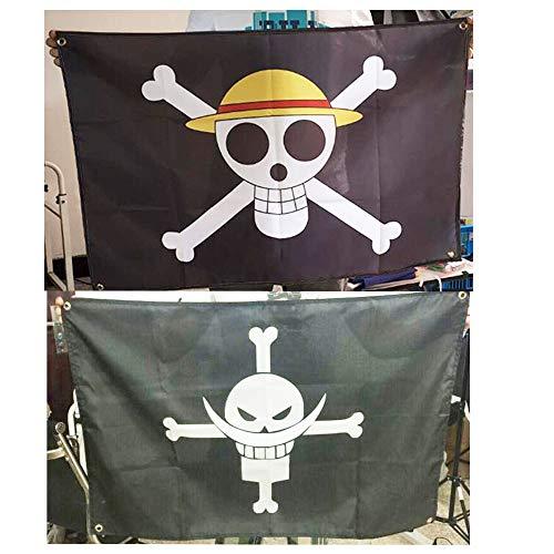2Pcs 60cmx90cm One Piece Luffy Flag Skull Jolly Roger Pirate Flag Decoración para el hogar Polyester Banner (AA)