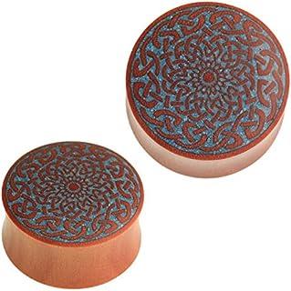 Chic-Net®, dilatatore per orecchio, in legno di zaffiro, con fiore celtico, colore turchese, con intarsio blu, unisex, per...