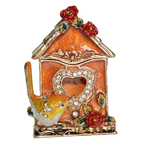 Minihouse Wren Birdhouse Trinket Box Hinged Hand-Painted Enameled Bird Figurine Collectible Jewelry Box Ring Holder  Unique Gift for Home Decor