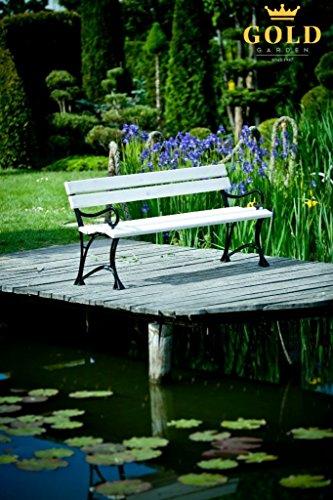 GOLD GARDEN G02022 Gartenbank Toskana aus weissem Fichtenholz 150 cm für 3 Personen - 4