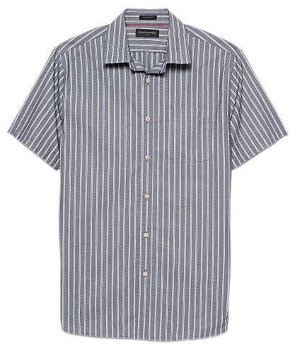 BANANA REPUBLIC Mens Slim-Fit Indigo Shirt, Bold Blue Stripe (L)