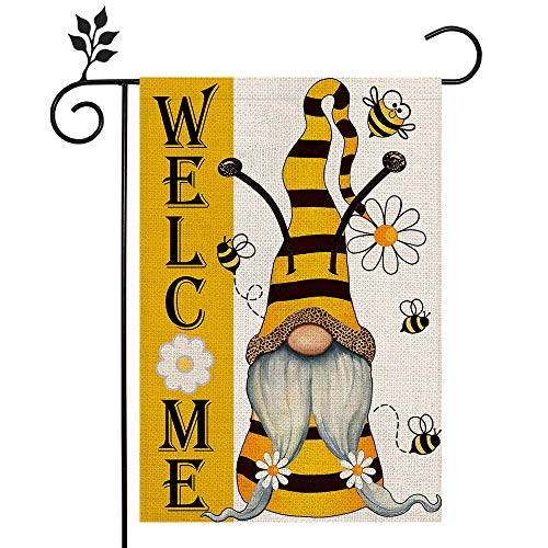 CROWNED BEAUTY Summer Welcome Garden Flag 12×18 Inch Gnome Double Sided Vertical Yard Outdoor Decoration CF162-12