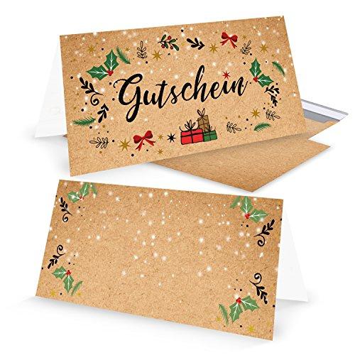 5 Stück Weihnachtsgutschein rot grün natur Gutschein weihnachtlich für Kunden Mitarbeiter Freunde als Geschenk zu Weihnachten MIT KUVERT DIN lang zum Aufklappen Kraftpapier