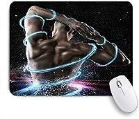 KAPANOUマウスパッド フィットネスジム強力な強力なセクシーな男の強さ筋肉創造的な黒 ゲーミング オフィス おしゃれ 良い 滑り止めゴム底 ゲーミングなど適用 マウス 用ノートブックコンピュータマウスマット