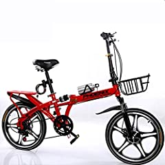JuinTECH バスケット、ウォーターボトルホルダーと、赤とポータブル折りたたみ自転車シングルスピード成人学生アウトドアスポーツ自転車 (Size : Large Size)