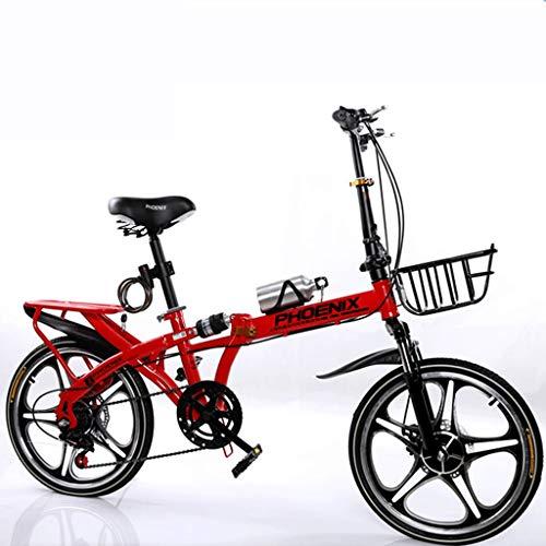 GWXSST Bicicleta Plegable portátil de una Sola Velocidad Estudiante Adulto Deporte al Aire Libre Bicicleta con Cesta, Botella de Agua y Holder, Rojo (Size : Medium Size)
