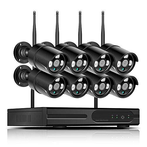 ZXCV Camara Vigilancia WiFi Sistema De Circuito Cerrado De Televisión Sistema De Cámara De 2MP De Audio Y Vídeo Inalámbrico De Vigilancia NVR Kit De Seguridad H.265
