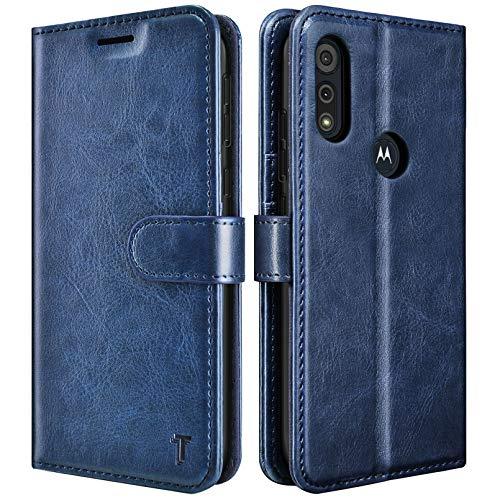 Moto E 2020 Case, Motorola Moto E 2020 Wallet Case, Tekcoo Premium [RFID Blocking] Secure Cash ID Credit Card Slots Holder Carrying Vegan Leather Phone Folio Flip Cover Cases Kickstand [Navy Blue]
