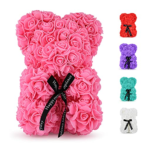Rose Bear - 10 inch Fully Handmade Artificial Flower Bear, Romantic Gifts for Christmas, Valentine's Day, Thanksgiving Day, Mother's Day, Anniversary, Bridal Showers, Birthday with Gift Box (Pink)