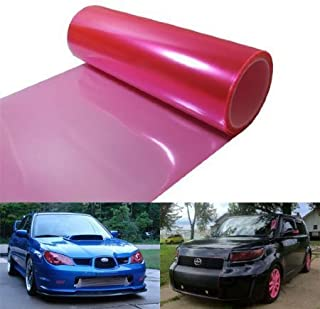 ATMOMO Pink 12 by 48 inches Self Adhesive Headlight Bumper Hood Paint Protection Film Vinyl Sheet Headlights, Tail Lights,Smoke Fog Lights Tint Vinyl Film Car Light Headlight Sheet Car Sticker