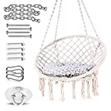 Ohuhu Hammock Chair Hanging Chair Swing with Soft Cushion & Durable Hanging Hardware Kit, 100% Cotton Rope Indoor Macrame Swing Chairs for Bedrooms, Great Gifts for Girls Kids Birthday