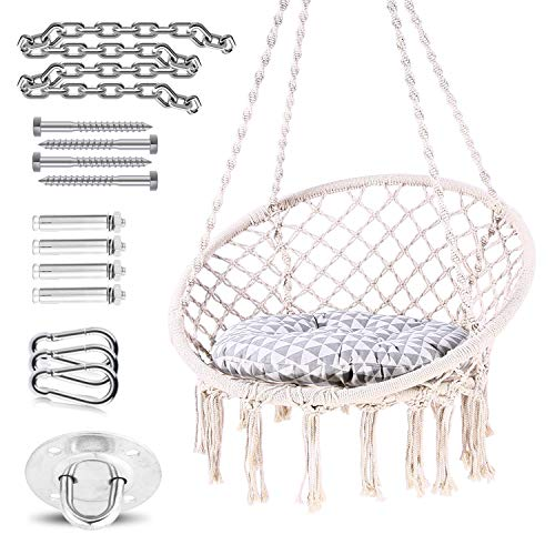Hammock Chair Hanging Chair Swing with Soft Cushion & Durable Hardware Kit, Ohuhu 100% Cotton Rope Indoor Macrame Swing Chairs for Bedroom Balcony Porch, Idea Gifts for Girls Kids Lover Birthday