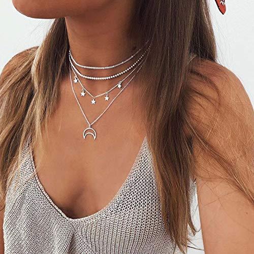 TseenYi Collar Boho multicapa simple de plata con colgante de estrella de luna hueca, collar vintage, gargantilla para mujeres y niñas