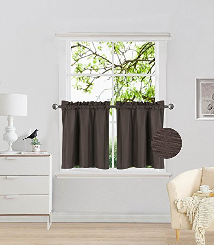 "Elegant Home 2 Panels Tiers Small Window Treatment Curtain Insulated Blackout Drape Short Panel 30"" W X 24"" L Each for Kitchen Bathroom or Any Small Window # R16 (Brown/Coffee)"