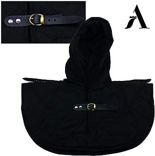 AnNafi Renaissance Medieval Cotton Padded Armor Collar and Coif Arming Cap| Aventail Neck Head Protector Under Armor |Black