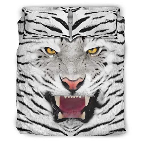 Lind88 Juego de 4 fundas de edredón y fundas de almohada, diseño de tigre, color blanco, 228 x 264 cm
