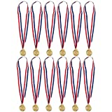 Award Medals with Ribbons for Sports Swimming (Gold, 12 Pack)
