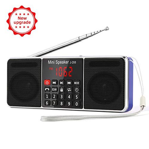 PRUNUS J-288 AM/FM Radio Portable, Hands-Free Bluetooth Radio Stereo Speaker with Sleep Timer, Power-Saving Display, Ultra-Long Antenna, AUX Input & USB Disk & TF Card MP3 Player(Blue)