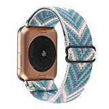 Adjustable Elastic Watch Band Compatible with Apple Watch 38mm 40mm, Nylon Stretchy Solo Loop Bracelet Women Replacement for iWatch Series 6/5/4/3/2/1 (Blue Arrow, 38mm/40mm)