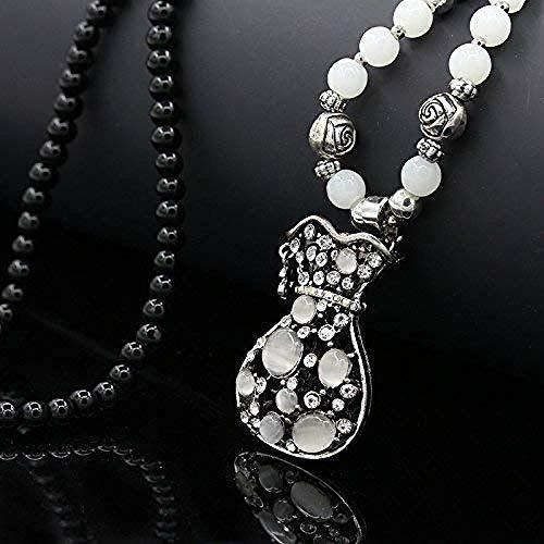 JIUJIN Personalisierte Accessoires Halsketten Die wunderschön geschnitzte Katze Retro-Kette Kette Wintermode Schmuck Legierungen Edelstein Anhänger Kristallflasche Weißer Kristall