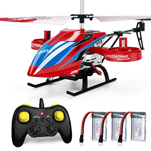 JJRC 4CH RC Helicopter with Remote Control, Fly Sideway Helicopter Altitude Hold with 3 Batteries in 18 Minutes, One Key Take Off / Landing, Emergency Stop RC Toy Helicopter Gift for Kids (Red)