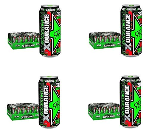 Rockstar XDurance Super Sours Green Apple Energy Drink, 0 sugar 0 calories and Electrolytes, 16 oz cans, 24 Count (Fоur Расk)