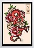 Japanische Kunst Schlange Kunstdruck Poster ungerahmt Bild