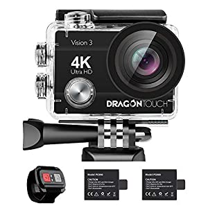 【Lowest Price】 Dragon Touch 4K Action Camera Vision 3 Underwater Waterproof Camera 170° Wide Angle WiFi Sports Camera with Remote 4X Zoom 2 Batteries and Dual Charger and Mounting Accessories Kit